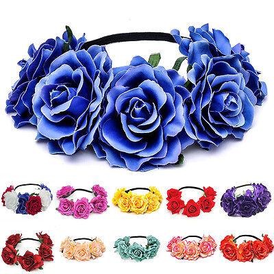 Floral BOHO Crown Hair Wreath Hawaiian Stretch Flower Headband Party  Garland