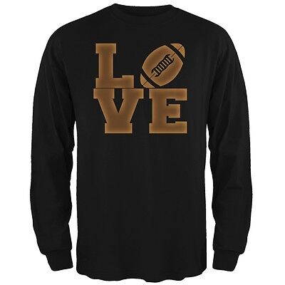Football Love Black Adult Long Sleeve T-Shirt