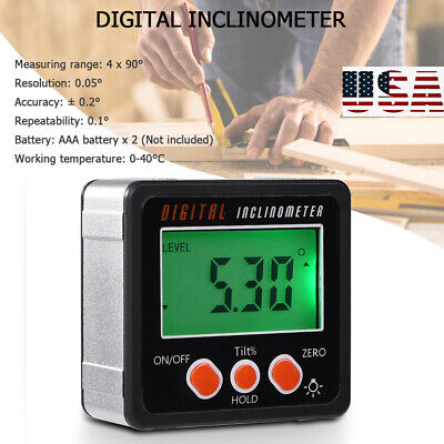 4 X 90 Lcd Digital Inclinometer Protractor Bevel Angle Gauge Magnet Base Usa