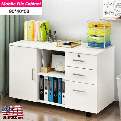 3-Drawer and 1 Door Storage Mobile Rolling File Cabinet W/ Drawer office Home ()