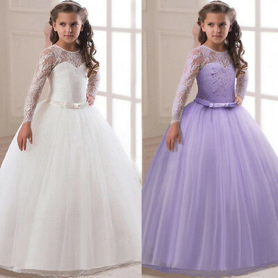 Flower Girl Dress Lace Gown Formal Wedding Bridesmaid Graduation Pageant for Kid - Dress For Girl