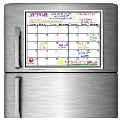 17x11 Monthly Magnetic Refrigerator Calendar White Dry Erase Board Message Us