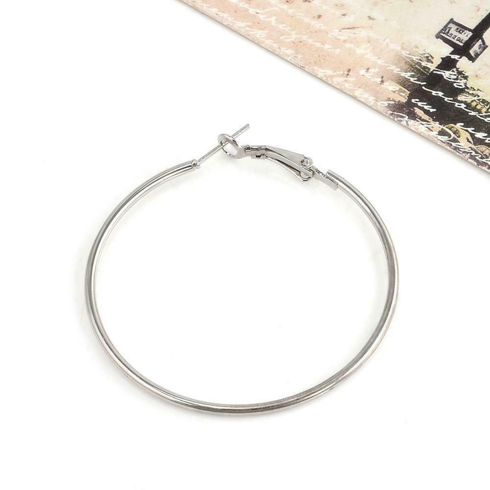 Sterling Silver Hoop Earrings Large Hooped Sleeper60mm Ladie