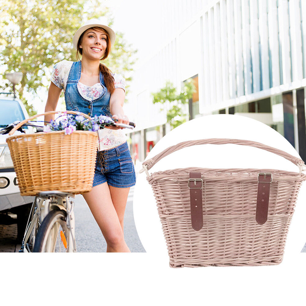 Bicycle Handlebar Wicker Basket Front Track Bike Willow Box With Lid And Handle