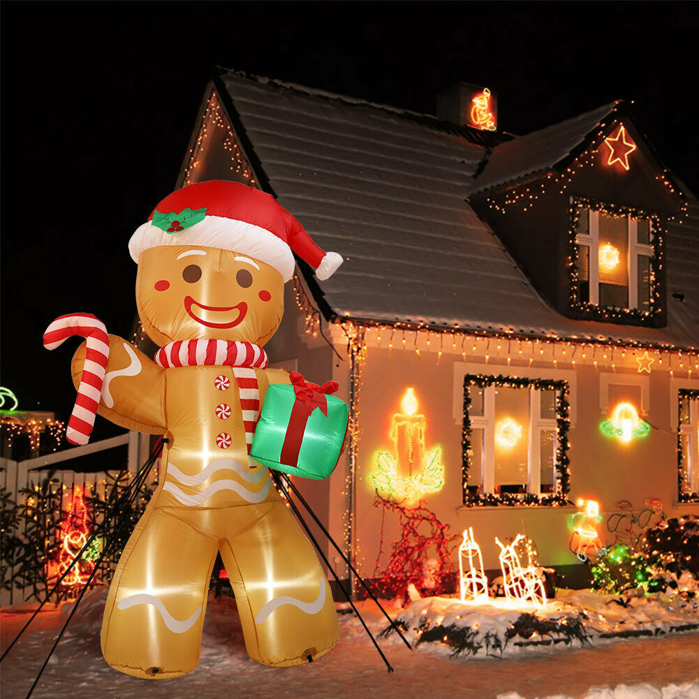 Details about 8FT Inflatable Gingerbread Santa with LED Lights Christmas Outdoor Garden Decor