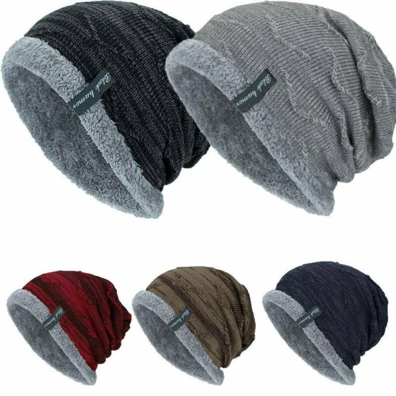 Unisex Men Winter Warm Knit Slouch Beanie Hat Outdoor Fleece