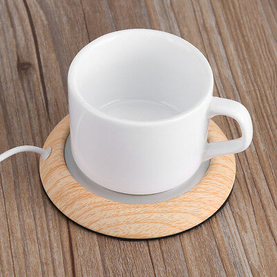 (Wood Grain USB Heat Heater Milk Tea Coffee Mug Warmer Home Office Cup Mat Pad US)