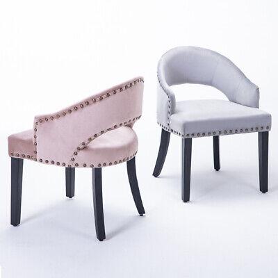 Vintage French Upholstered Dining Chair Luxur Soft Pink/Grey Velvet Vanity Stool