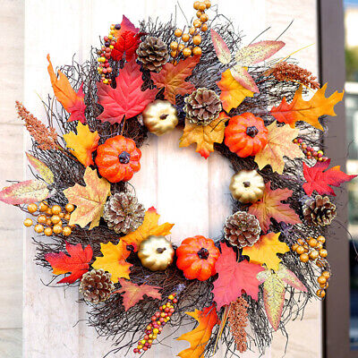 Fall Wreath 18 Inches Pumpkin & Maple Leaf Autumn Harvest Wreath for Front Door