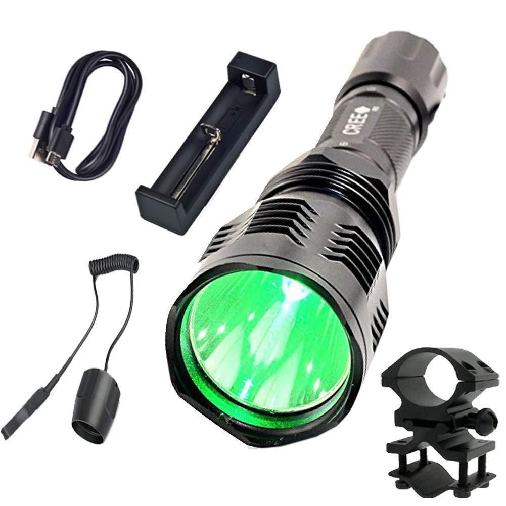 Tactical Flashlight Green LED Hunting Torch 18650 Lamp Night