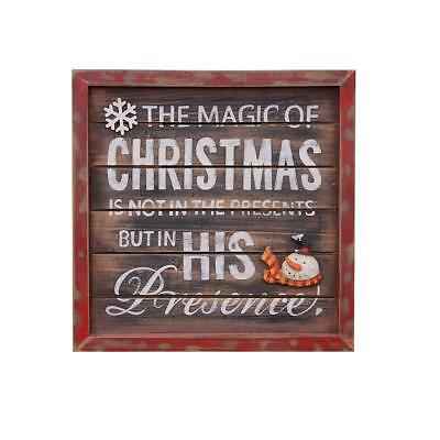 Magic Christmas Wood Wall Plaque Decorative Art Sign Framed Print Wall Hanging -