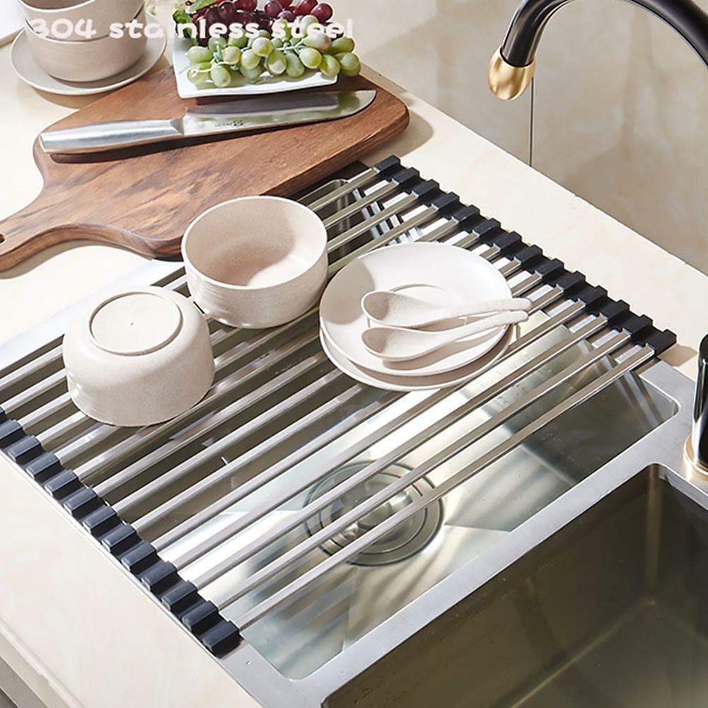 26*45cm Stainless Draining Rack Dish Drain Shelf Holder Sink