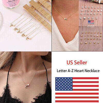US Charm Heart Letter Initial A-Z Alphabet Pendant Chain Necklace Christmas Gift Initial Heart Charm Letter