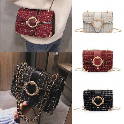 UK Women Ladies Shoulder Quilted Handbag Gold Chain Faux Leather Cross Body Bag