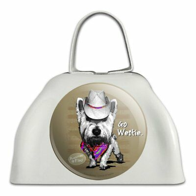 Go Westie West Western Cowboy Dog White Metal Cowbell Cow Bell Instrument