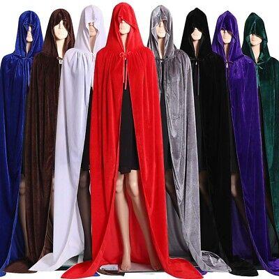 Witches Cloak (Velvet Halloween Hooded Cape Cloak Wizard Vampire Witch Wedding Cosplay)