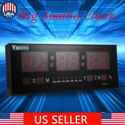 Hot Digital Large Big Jumbo Digits LED Wall Desk Clock With Calendar Temperature