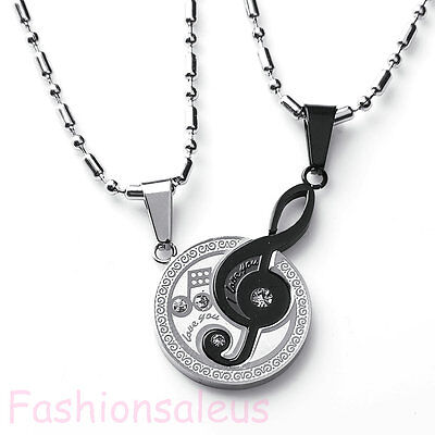 Stainless Steel Matching Music Note  I Love You  Pendant Couples Necklace Set