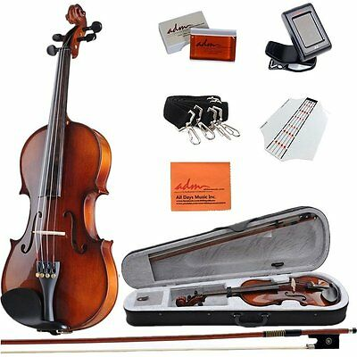 ADM 4/4 Full Size Handmade Wooden Acoustic Beginner Violin Outfit with Hard Case