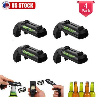 4-Pack Firing Cap Gun Launcher Shooter Bottle Opener Beer Cap Openers Shoots