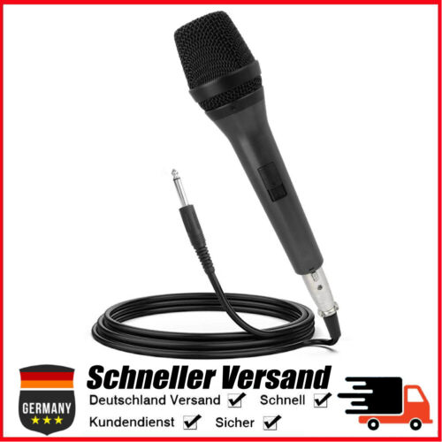 Dynamisches Mikrofon Gesangsmikrofon mit 5m Kabel 6.35mm Klinke Gesang Karaoke #