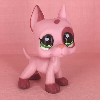 Littlest Pet Shop Pink Great Dane Dog LPS #2598 Green Eyes Puppy Rare Kids Toys