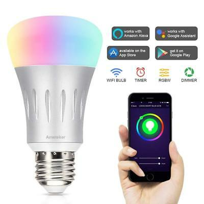 Smart WiFi Lampadina LED 7W RGBW Dimmerabile LED E27 Lavora con Alexa Echo