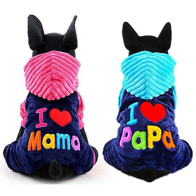 I Love Mama Papa Pet Cat Dog Sport Jersey Hoodie Winter Warm Costume Hooded Coat (Sports Mama Kostüm)