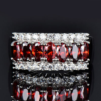 White Gold Ladies Bridal Rings - Oval Cut White Gold A Row Red Garnet Ring Ladies Wedding Jewelry Gift Size 6-12