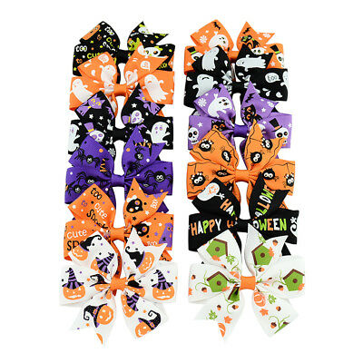 12 Colors Cute Kids Girls Hair Clip Ribbon Bow Hair Accessories Halloween Gifts](Cute Halloween Colors)