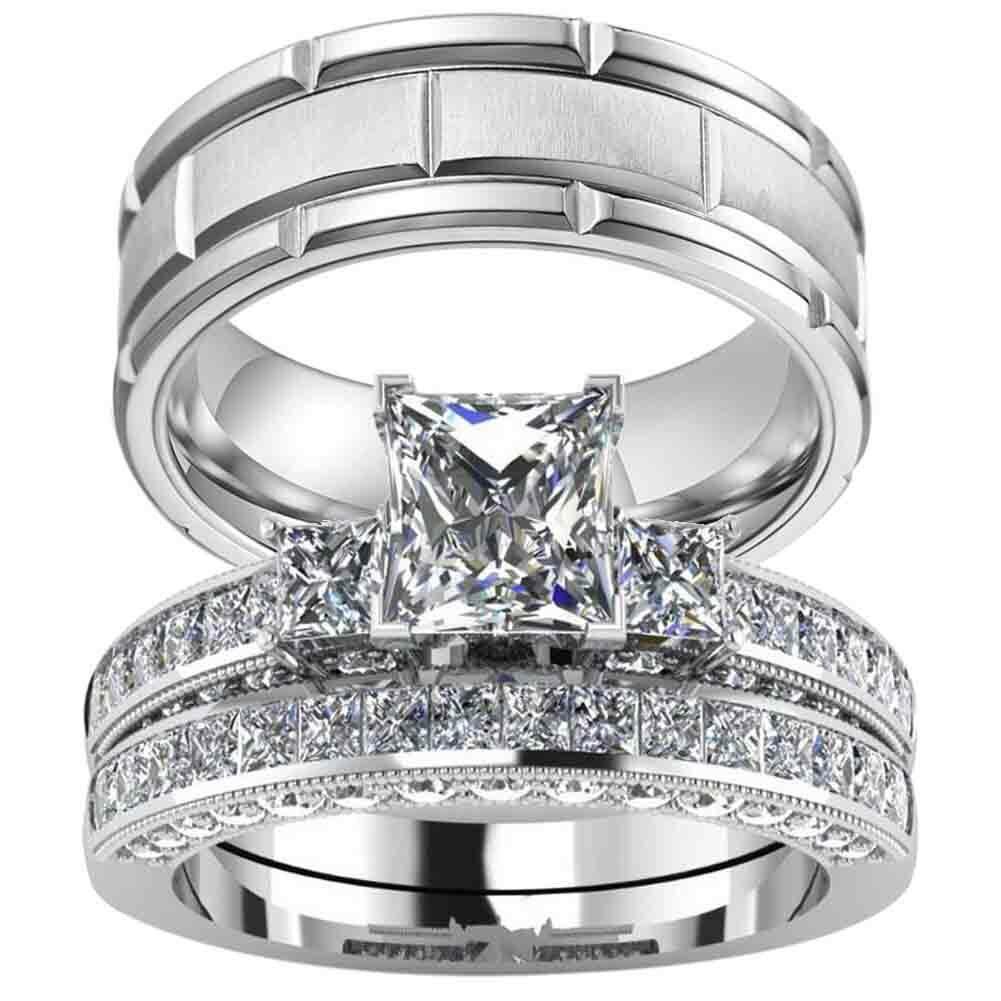 couple ring white gold felled women ring