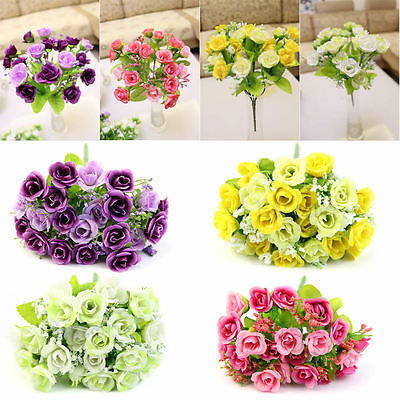 Bouquet Artificial Rose Fake Silk Flower Leaf ...