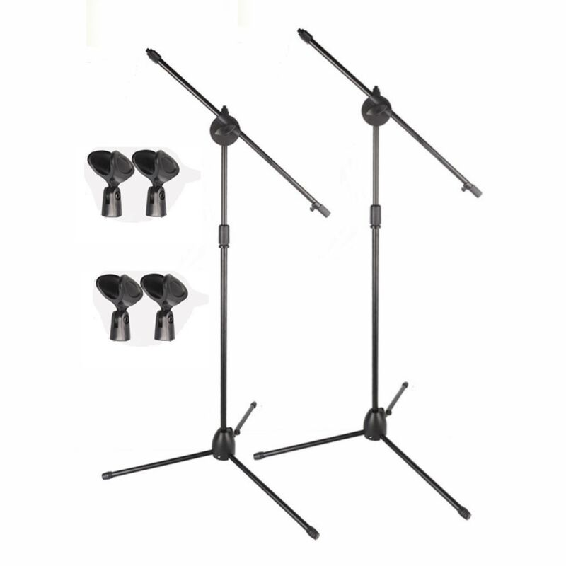 2 Pack Dual Microphone Stand Boom Arm Holder & Mic Clip Stage Studio Tripod New