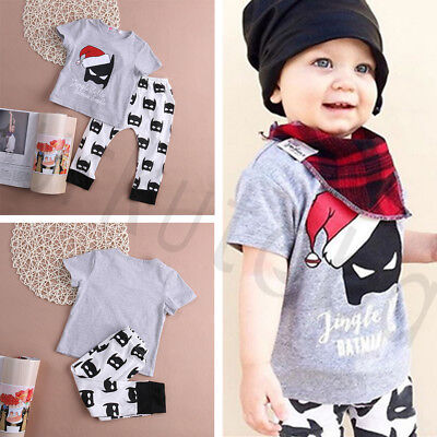 Newest Cute X-mas Baby Boy Outfit Clothes Batman Smell Print T-shirt+Long Pants - Cute Christmas Outfit