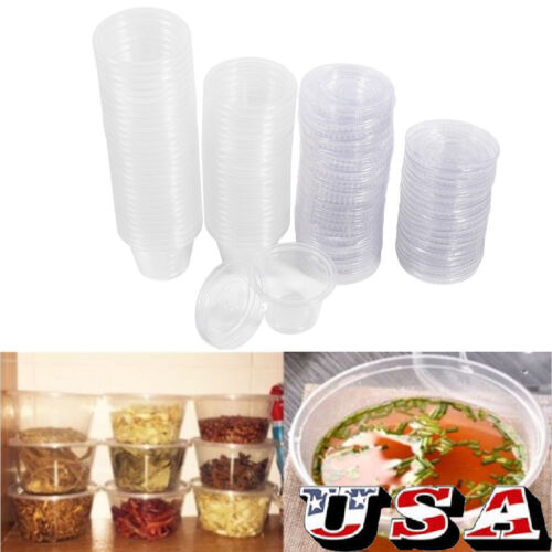 50/100*Disposable Plastic Condiment Sauce Chutney Cup Food C