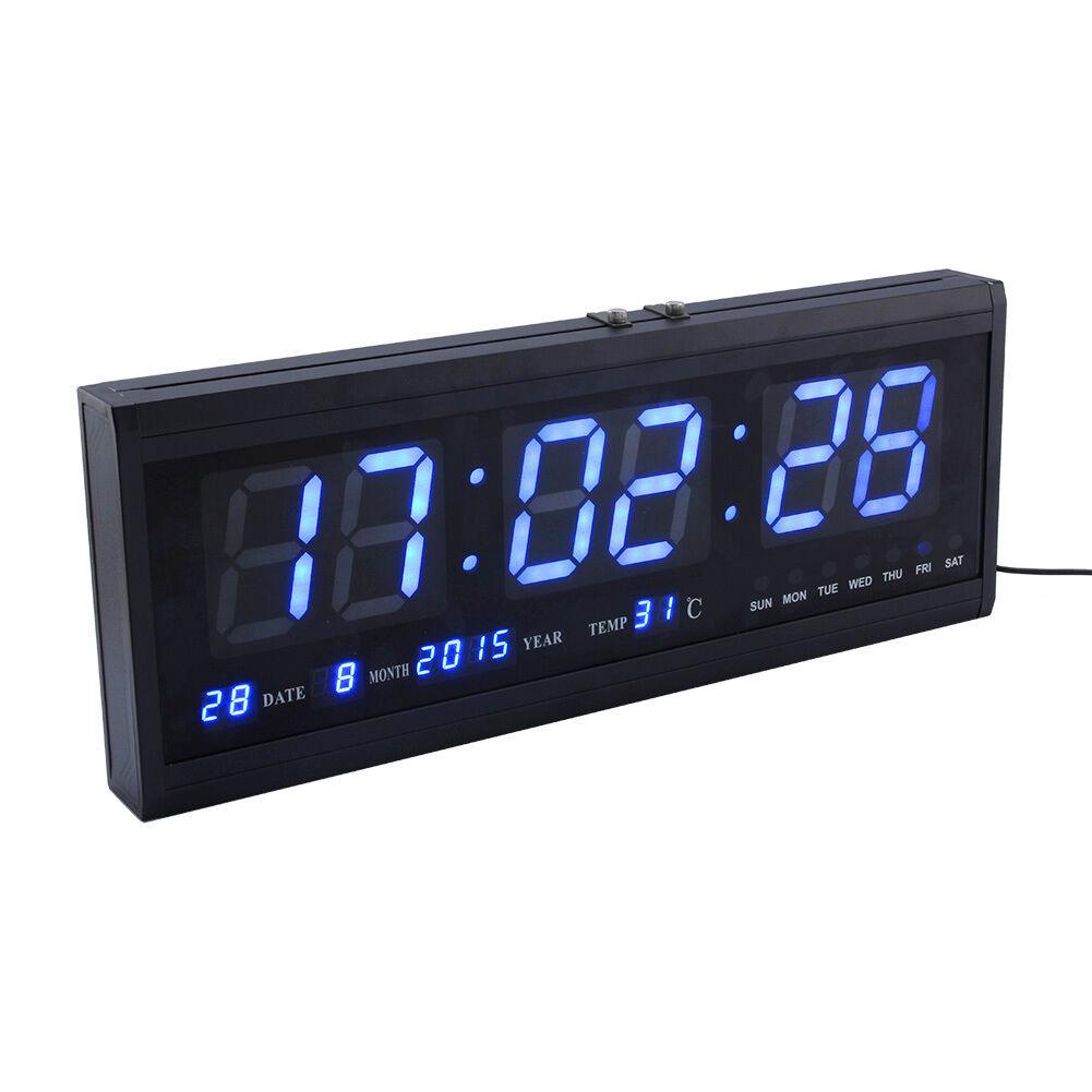 Large Jumbo Digital Led Wall Clock Desk Alarm Calendar