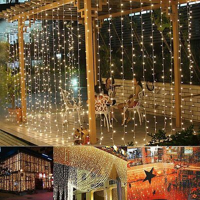 9.8ftx6.6ft 224LED Christmas xmas String Fairy Wedding Curtain Light  warm white