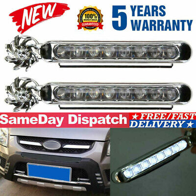 2Pcs Wind Power 8 LED Car Daytime Running Light Fog Light Car DRL Driving Lights