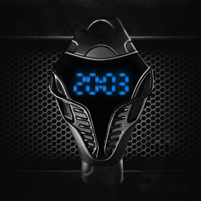 LED Digital Mens Watches Silicone Cobra Iron Triangle Dial Sport Wristwatch #BBA
