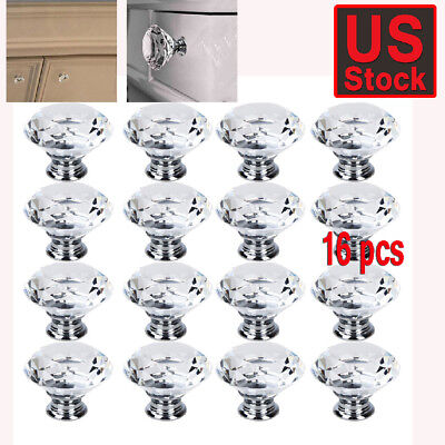 - 16Pcs Crystal Glass Cabinet Knob Diamond Shape 40mm Drawer Cupboard Handle Pull