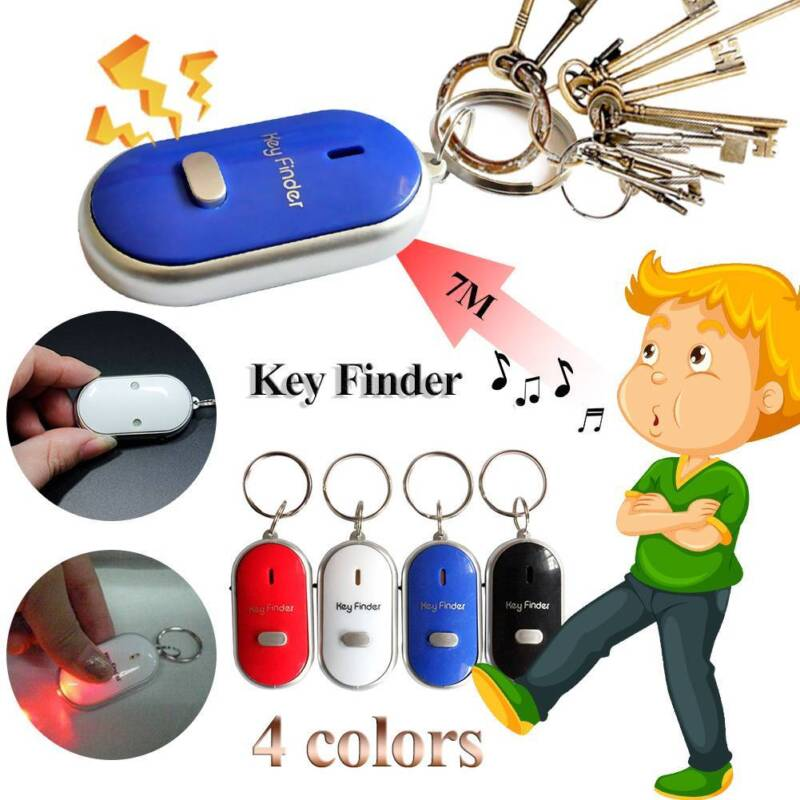 Whistle LED Anti-Lost Key Finder Locator Keychain Whistle Sound Control Keyring