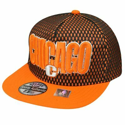 Arancione Neon Chicago Illinois Snapback Cappello Windy Città Jersey Piatto Bill
