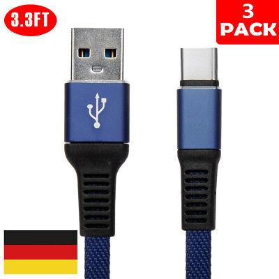 3X Nylon-Kabel Typ C mit USB C Kabel Schnell Ladekabel für Samsung S8 S9 Note 8