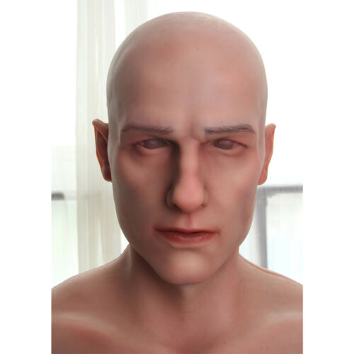 Young man realistic silicone headwear hand made full head hood male movie props