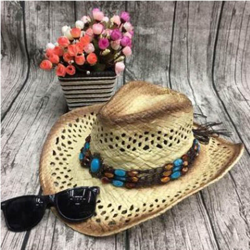 dd686a6e2 Details about Unisex Women Men Straw Hollow Cowboy Hat Handmade With Wired  Brim Sunhat Fashion