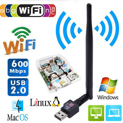 600Mbps USB Wifi Router Wireless Adapter PC Network LAN Card Dongle +5 Antennas