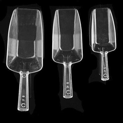3Pcs Clear Plastic Sweet Favor Candy Bar Ice Sugar Buffet Scoops Home Party
