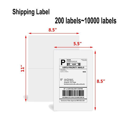 200 10000 Half Sheet Self Adhesive 8 5 X 5 5 Shipping Blank Labels For Ups Fedex
