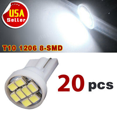 20 X Car White T10 LED 8smd Side Wedge Light Bulb W5W 194 168 2825 501 192 158, used for sale  Kent