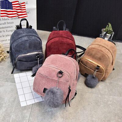 Women Corduroy Backpack Shoulder Bag Travel Handbag School Bag Rucksack Mini -